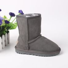 New Fashion Snow Boots Kids Winter Genuine Leather Boots For Girls Boys Plush Flat Shoes Children Boots With Fur Warm Botas 2017
