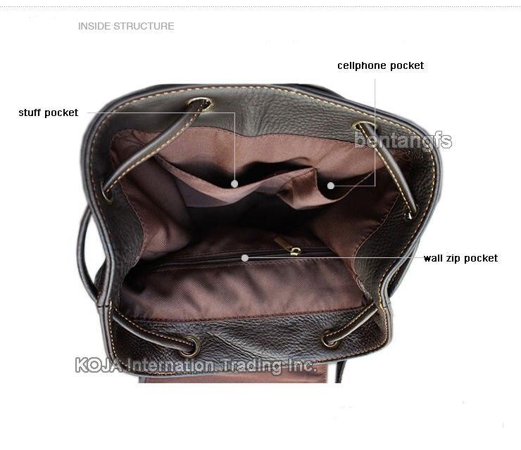Fashion Women Leather Backpack Women Backpack For Teenage Girls Genuine Leather School Bag Female Drawstring Bag Bagpack Brown #6