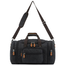 Unisex large capacity mobile travel bag canvas cross section solid color single shoulder diagonal duffel bag(China)