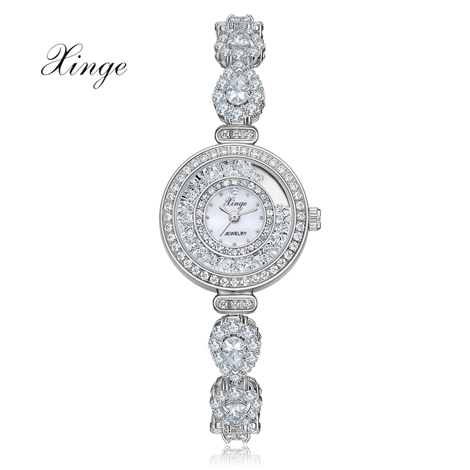Xinge Brand Zircon Bracelet Women's Watches Luxury Silver Band Dress Wrist Watch Fashion Ladies Business Gift Clock Relogio xinge brand fashion women quartz watches crystal zircon bracelet ladies watches luxury ladies clock relogio xg1003