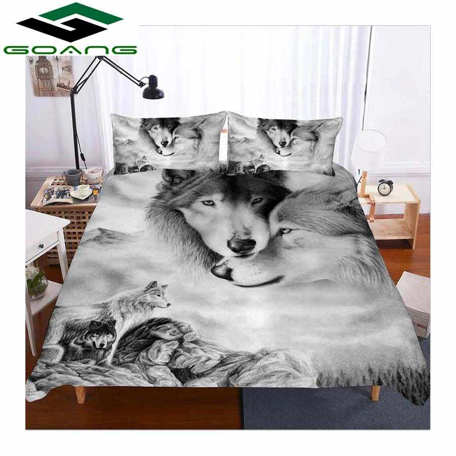 GOANG 3d bedding set duvet cover bed sheet pillow digital printing Wolf kiss twin bedding set Animal Pattern Home textile