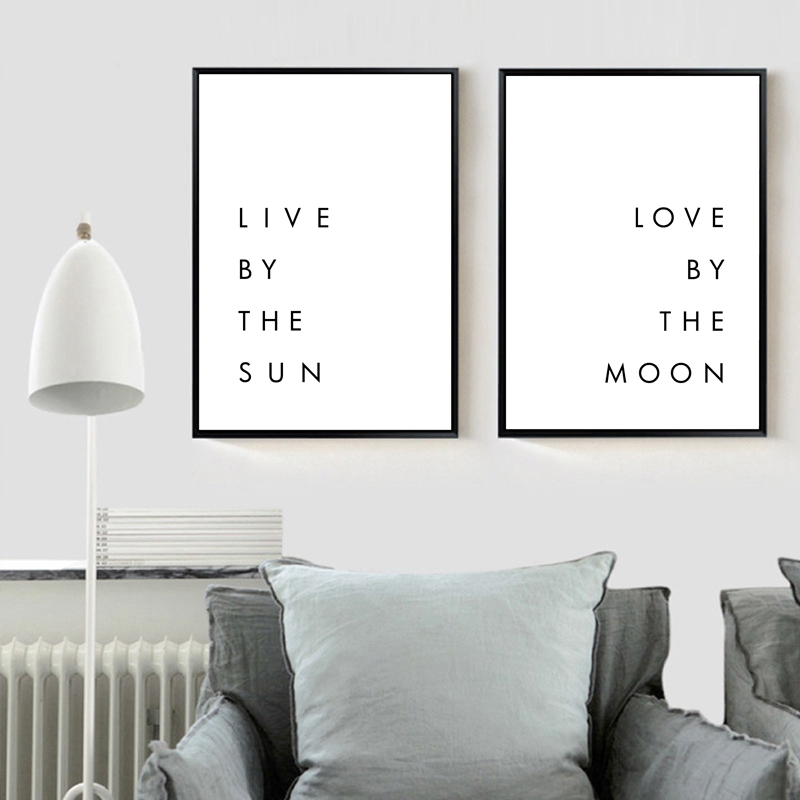 US $10.05 |Bedroom Wall Art Minimalist Canvas Print Poster Live by the Sun  Love by the Moon Typography Canvas Painting Modern Wall Decor-in Painting &  ...