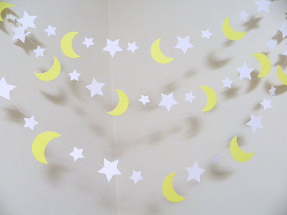 15 Feets Moon And Stars Paper Garland Moon And Stars Baby Shower