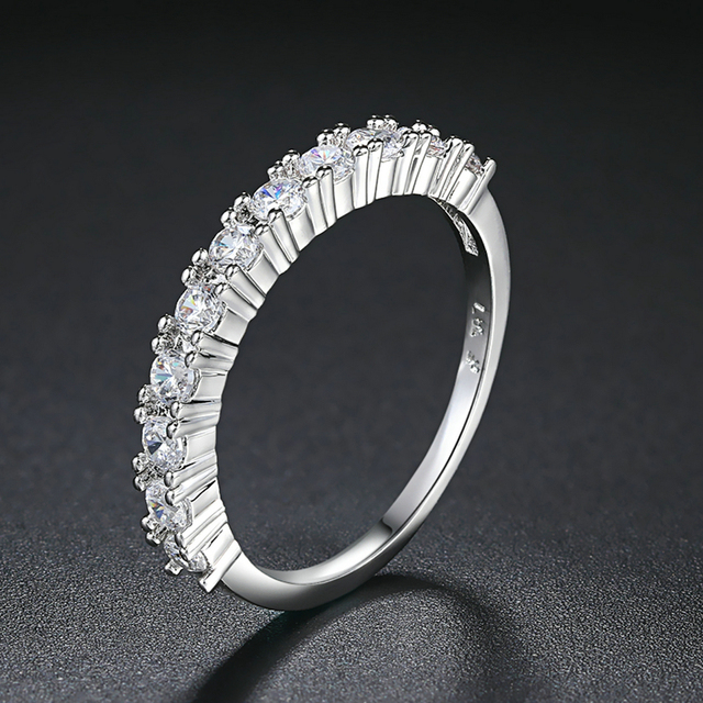 Luxury Silver Color Cubic Zirconia Half Circle Pave Finger Rings Fashion Wedding&Engagement Ring Jewelry For Women ZYR589