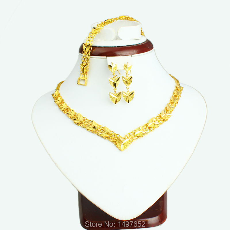 2017 Newest Dubai gold jewellery set Gold Color Turkish Egyptian