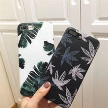 Europe And The United States New For Iphone 6 6S 7 8plus X Xs Xr Xsmax Fresh Green Leaves Tpu Anti-Fall Mobile Phone Shell