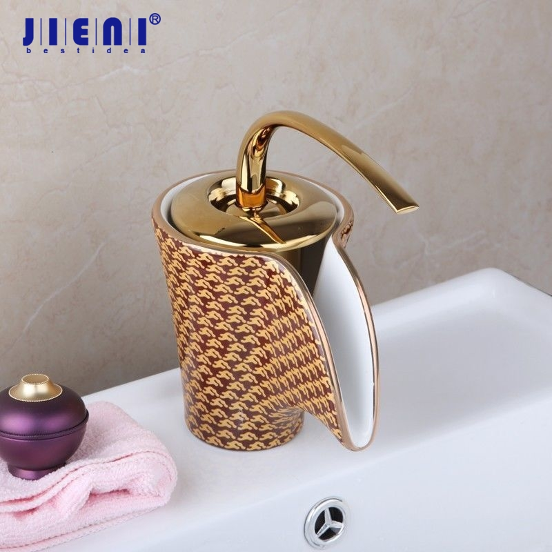 Gold Waterfall Faucet  Ceramic Finish Bathroom Basin Sink Faucet Hot & Cold Mixer Deck Mounted Tap