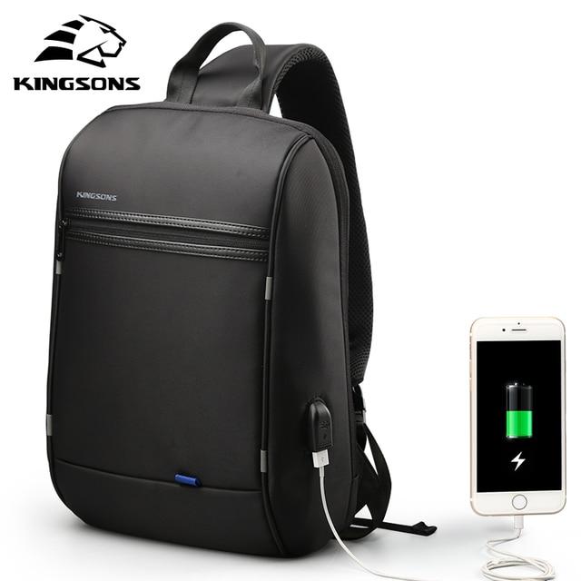 Kingsons 13.3 polegada Anti-roubo USB Cobrando Saco Peito Mensageiro Wateproof Laptop Ombro Único para Mulheres Dos Homens