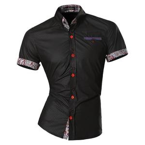 Image 1 - Jeansian hommes été mode lignes dornementation géométrique décontracté coupe ajustée à manches courtes mâle Simple couleurs chemise Z026