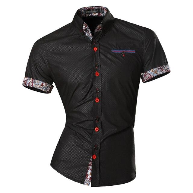 Jeansian hommes été mode lignes dornementation géométrique décontracté coupe ajustée à manches courtes mâle Simple couleurs chemise Z026