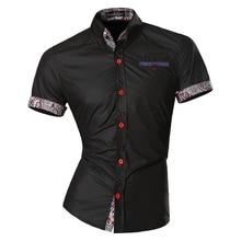 Jeansian męskie letnie modne linie geometrycznej ozdoby dorywczo Slim Fit z krótkim rękawem męskie proste kolory koszula Z026