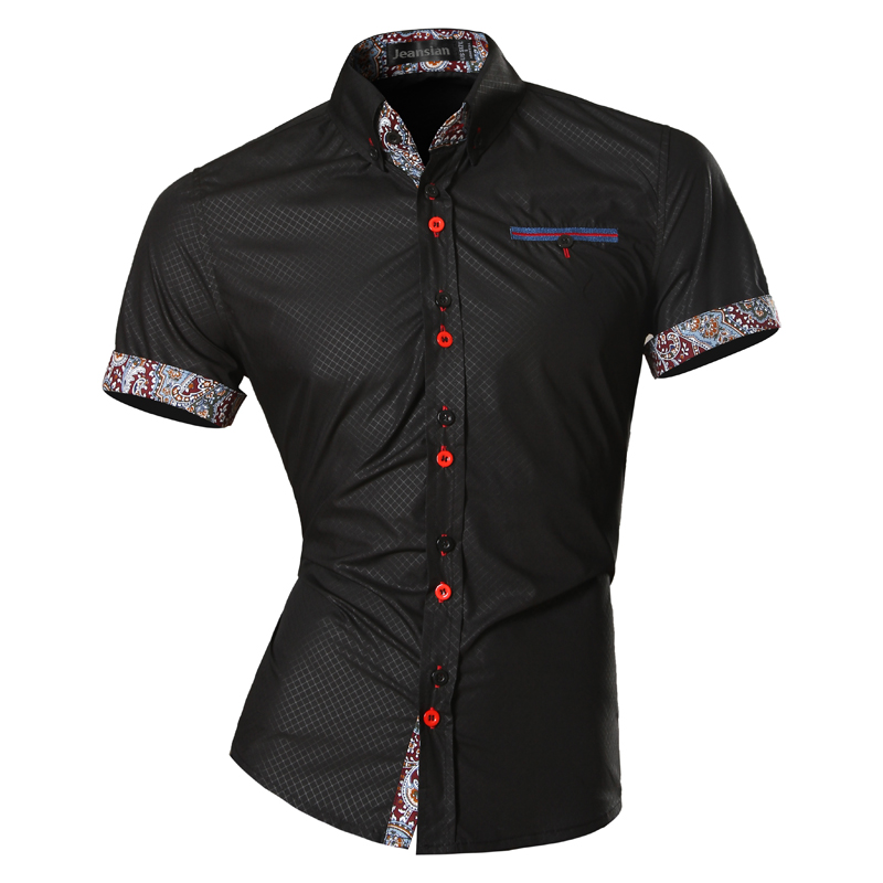 Jeansian Mens Summer Fashion Lines Of Geometric Ornamentation Casual Slim Fit Short Sleeve Male Simple Colors Shirt Z026