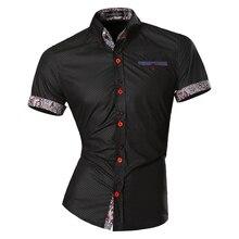 を jeansian メンズ夏のファッションライン幾何学装飾カジュアルスリムフィット半袖男性シンプルな色シャツ Z026