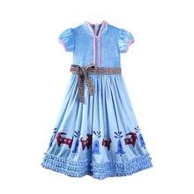 2b5cfaf4b 2018 طفل طفلة اللباس زهرة bowknot الأزرق فساتين زفاف أزياء لطيف ملابس  السهرة حزب زي العروسة