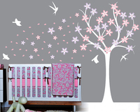 Beautiful Color Tree Wall Stickers for Kids Room Decorations Nursery Cartoon Children Decals Animals Mural Arts Flowers