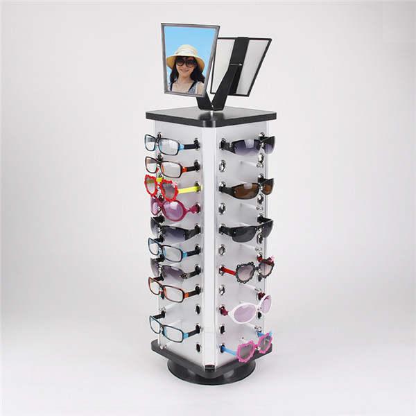 bonne texture nouvelle version comment chercher Carré 1 pc expédition accélérée métal rotatif lunettes de soleil présentoir  lunettes support avec miroir pour 44 paires