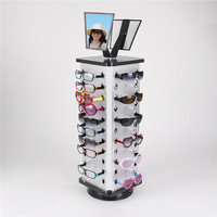 Square 1pc Expedited Shipping Metal Rotating Sunglass Display Rack Glasses Stand Holder With Mirror For 44 Pairs