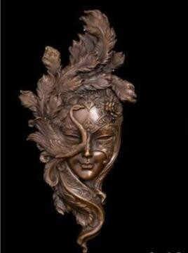 Ю. М. Латунь созданный человеческие Винтаж классический ручной работы бронза художественный Рельеф Стены Статуя маска павлина Медь металлической стене Скульптура крышка