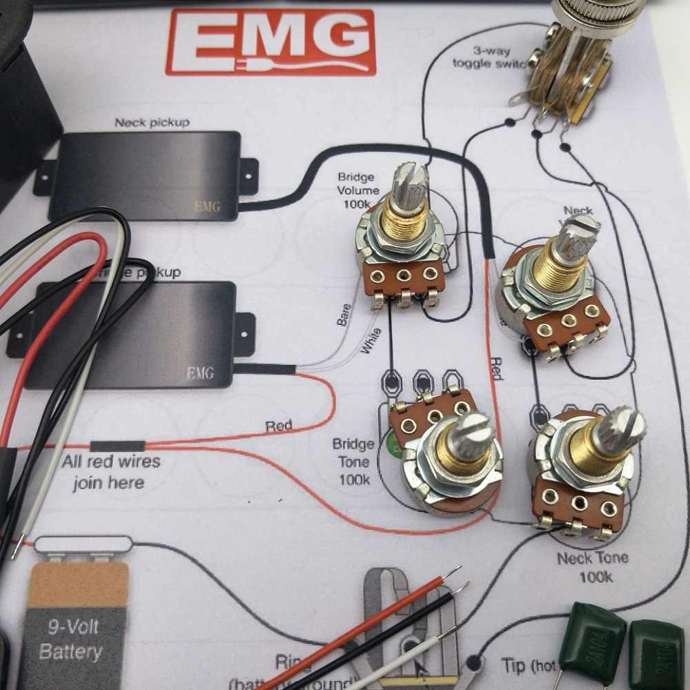 hight resolution of detail feedback questions about emg 81 85 active pickup electric 25k guitar parts emg 81 85 active pickups wiring harness pots for