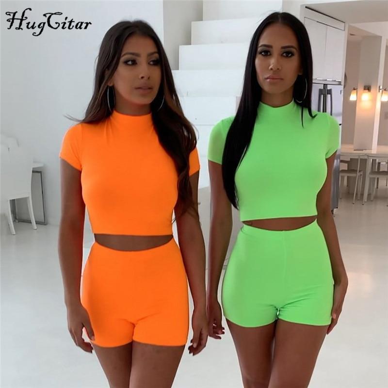 Hugcitar Short Sleeve Green Crop Tops Shorts 2 Pieces T-shirt Set 2019 Summer Women Fashion Sexy Casual Club Party Streetwear
