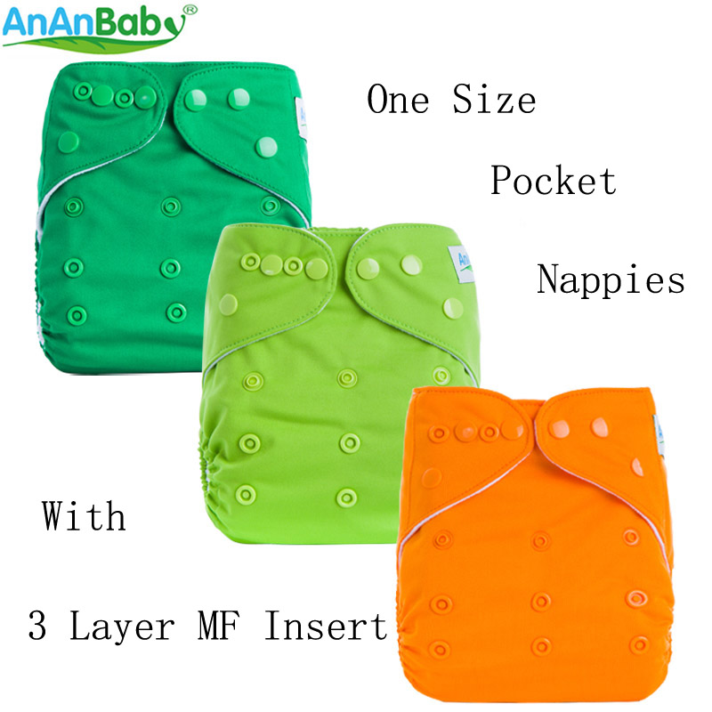 AnAnBaby All In One Size New Design 1 PCS Plain Color Cloth Diapers Breathable Pocket Diaper For Baby  B-series