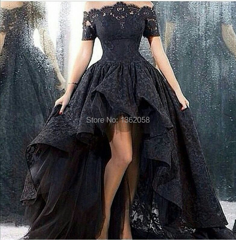2015 Black Lace Evening Dress Asymmetrical Floor-length Off-the -shoulder vestidos longos Evening Gowns
