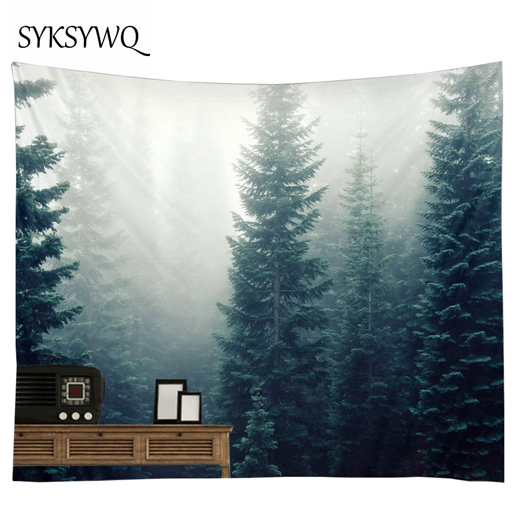 Psychedelic Tapestry Forest Wall Hanging Tree Wall Cloth Tapestries Dorm Decor Bohemian Tenture Jungle Wall Carpet Beach Towel image