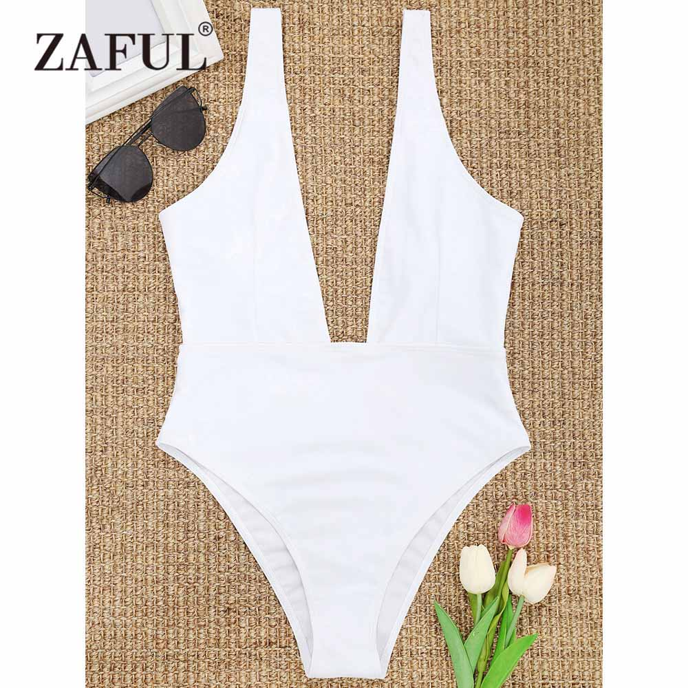 ZAFUL 2018 Sexy Deep V Neck One Piece Swimsuit Women Backless Swimwear Monokini Black White Bathing Suit Bodysuit Romper Mujer manyie hot new black white red one piece swimwear backless bathing suit padded deep v monokini swimsuit bandage bodysuit biquini