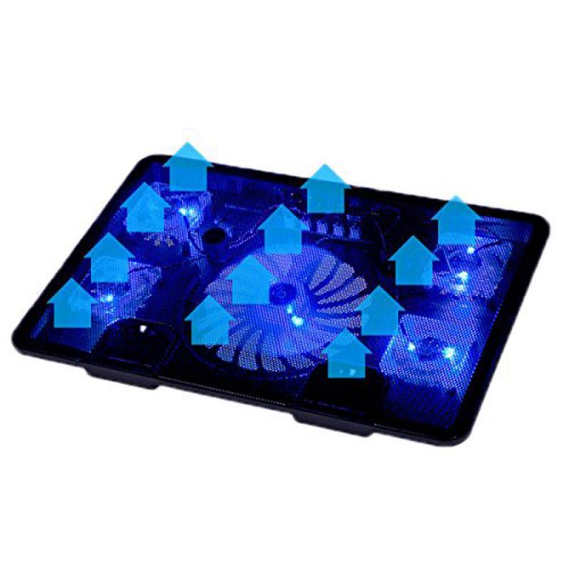 Venta caliente genuina 5 ventilador 2 portátil USB Cooler Pad Base LED Notebook Cooler USB del ordenador soporte para PC portátil 10 ''17''
