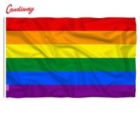 3X2 ayak Gökkuşağı Bayrağı 3*2 FT Polyester standart Bayrak Eşcinsel Gurur Barış Bayrakları Afiş Festivali ev Dekorasyon Süper-Poly NN014