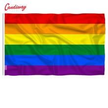 Bandeira de arco-íris dos pés 3x2 pés, bandeira padrão de poliéster do orgulho gay, bandeiras de paz para festival, decoração de casa super-poly nn014