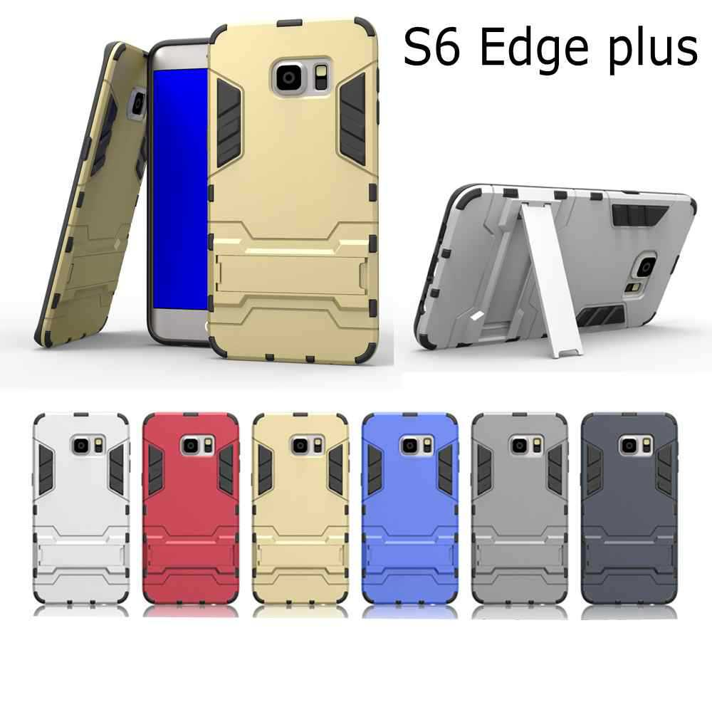 Fashion Armor 2 in 1 metal plating plastic with silicon hard stand holder Combo case cover for Samsung Galaxy s6 edge plus edge+
