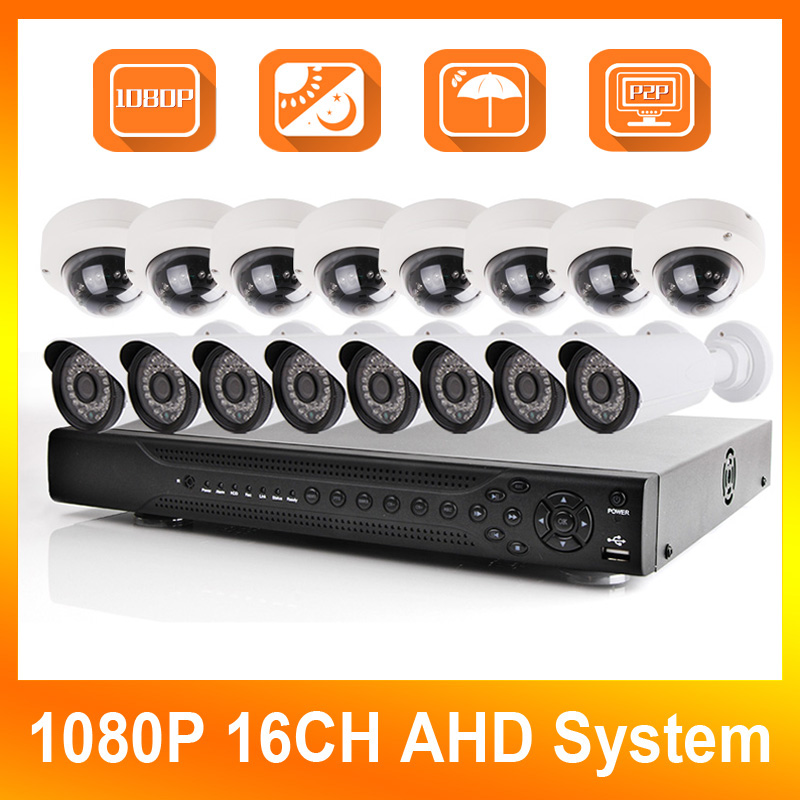 16CH 1080P AHD DVR System KIT+8PCS Bullet+Dome 2MP AHD Camera Outdoor 36*Leds IR Night vision AHD Security Surveillance Kits 4 in 1 ir high speed dome camera ahd tvi cvi cvbs 1080p output ir night vision 150m ptz dome camera with wiper