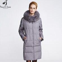 SnowClassic Vers Le Bas Manteau Femmes Veste D'hiver 2016 Plus La Taille Parkas Réel renard Col De Fourrure Femelle Manteau 80% Duvet de Canard Blanc Veste Chaud