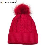 BUTTERMERE Sombreros Rojos Para Las Mujeres de Punto Pom Pom Tapa Gruesa invierno de Las Mujeres de Corea Skullies Gorros Para Diseños de La Muchacha Sombreros Y tapas