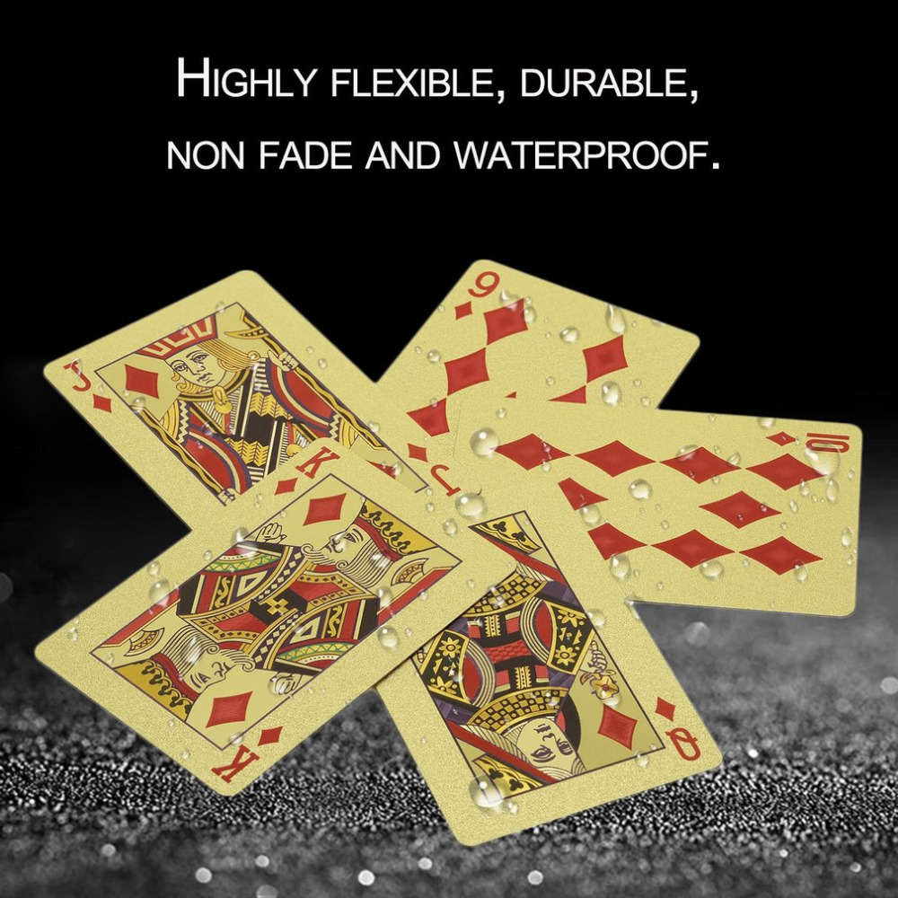 Portable Size Durable 24K Gold Foil Plated Playing Cards Adult Play Game Gold Foil Poker Card Playing Cards Best Gift free shipp