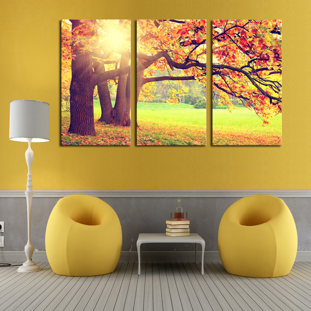 Unframed 3 Panels Modern Printed Yellow Trees Landscape Picture ...