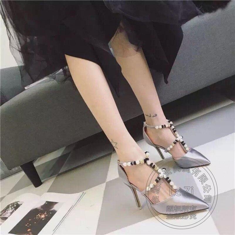 Ladies Shoes Black Silk T Strap Soft font b Women b font Sexy Shoes Thin Heel