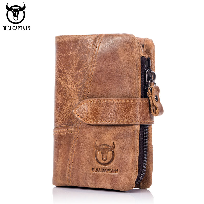 BULLCAPTAIN 2017 Trifold Hasp Zipper Short Wallets for MEN Cow Leather CASUAL Wallet Money Purse Bag Card Holder Coin Pocket casual weaving design card holder handbag hasp wallet for women