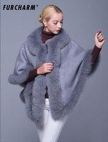 Замшевые шали с натуральным лисьим мехом дизайн Femal Мода натуральный мех пончо женские накидки утолщенные натуральный мех пальто женский м