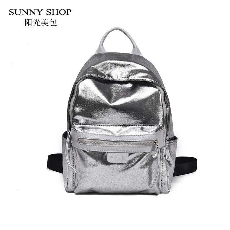 SUNNY SHOP Casual Shiny Nylon Women Backpack Women Large Capacity A4  Available College Rucksack School Bag 8da087cf29f82