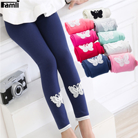 Famli Spring Autumn Girls Leggings Baby Kid Toddlers Solid Skinny Cotton Soft Lace Butterfly Stretchy Pencil