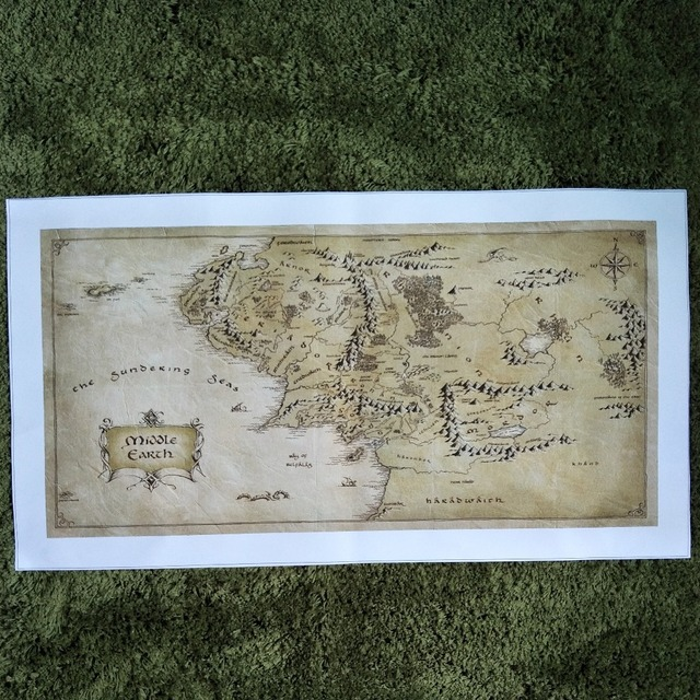Zz1614 Map Middle Earth Hobbit Poster Retro Vintage Canvas Oil Art Painting Home Bar Posters