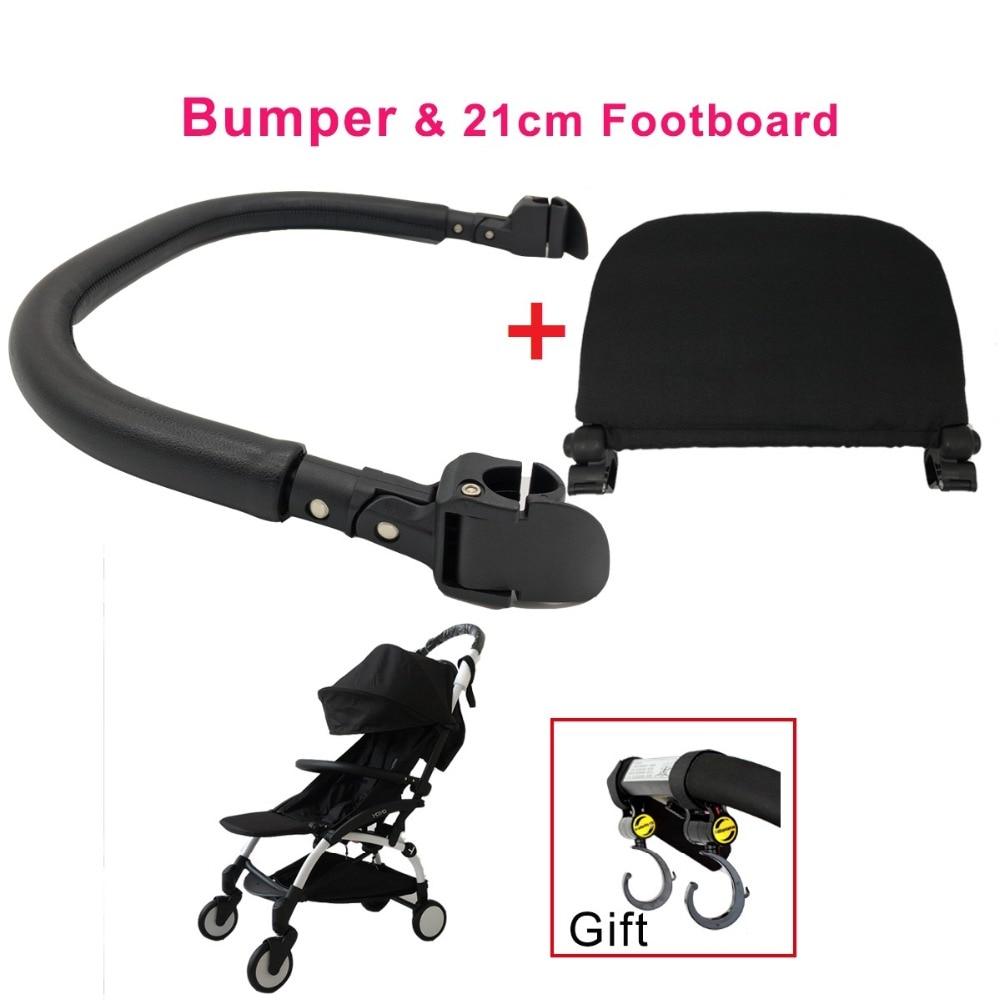 Baby Stroller Accessories 21cm Footboard & Leather Bumper Bar & Handrest Hook Fit Yoyo Yoya YuYu I.BELIEVE Pram Armrest