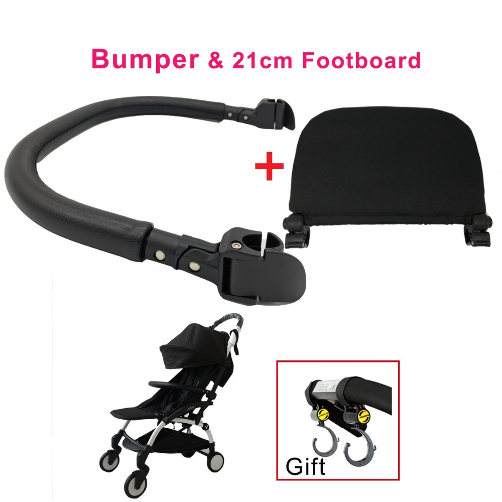 3pcs/set Baby Stroller Accessories 21cm Footboard & Leather Bumper Bar & Handrest Hook For Yoyo Yoya YuYu Vovo Vinn Pram Armrest