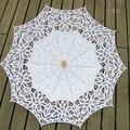 2017 Moda Sun Umbrella Parasol Do Laço Bordado Guarda-chuva Guarda-chuva De Casamento Branco de Noiva Ombrelle Parapluie Dentelle Mariage