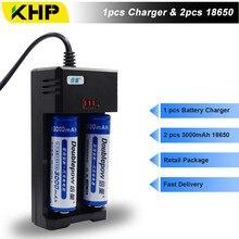 2 шт. doublepow 18650 Li-Ion Батарея Зарядное устройство 3.7 В 3000 мАч литий-ионные аккумуляторы 18650 Зарядное устройство Перезаряжаемые Батарея с Зарядное устройство Комплекты