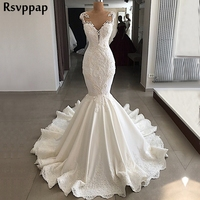 Sexy Mermaid Wedding Dress 2018 Sheer Nude Back Beaded Lace V neck robe de mariee Ivory Real Wedding Gown