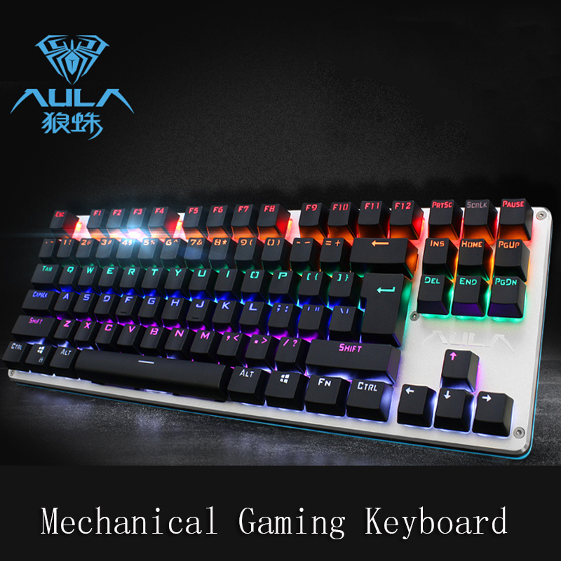 2017 Newest AULA F2012 Wired Mechanical Gaming Keyboard with Professional Blue Axis USB Wired 87 Keys For Desktop Laptop цена