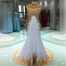 Elegante ouro bordado muçulmano vestidos de noite longo 2020 sereia alta pescoço contas cristal branco feminino formal festa formatura vestidos